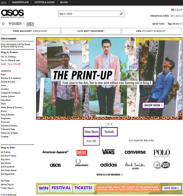 asos men section